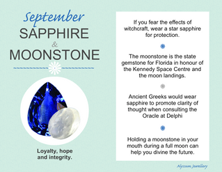 September's Birthstones – Sapphire and Moonstone