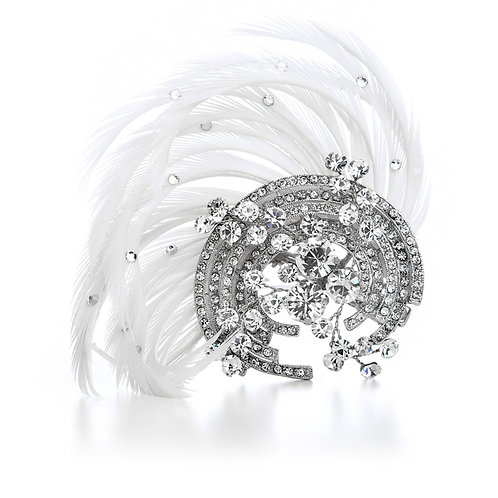 Art deco Gatsby styled feather and crystal hair comb