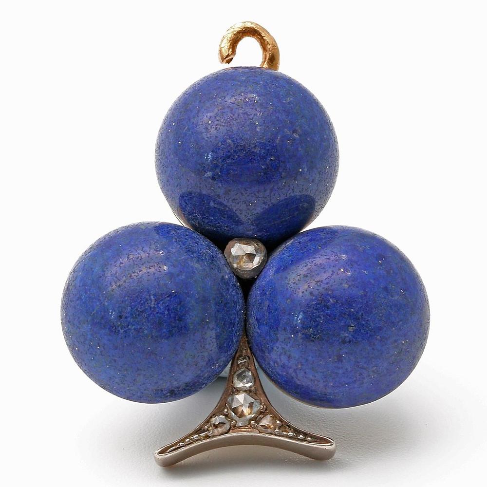 19th Century Lapis Lazuli and Diamond Pendant
