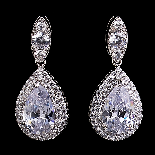 Double Pave Framed CZ Pear Drops, Clear