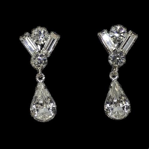 Baguette, Round, and Teardrop Crystal Clip Earrings