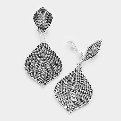 Antiqued Dark Silver Petal Drop Clip Earrings