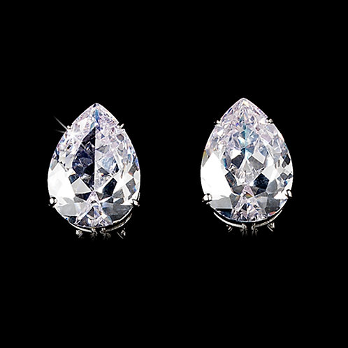 Clear Cubic Zirconia Pear Drop Earrings