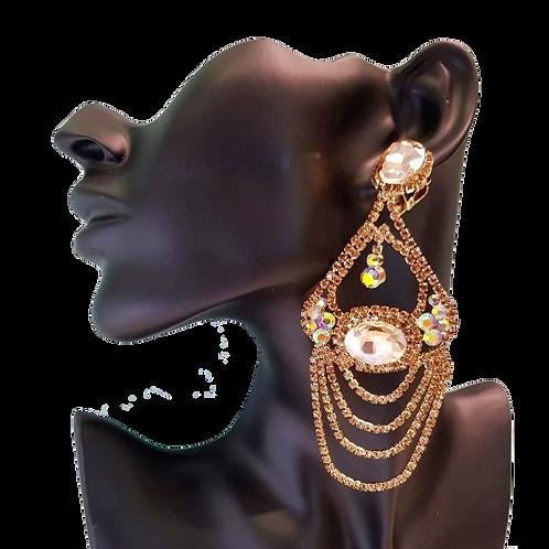 Elaborate Golden Topaz AB Rhinestone Chandelier Clip Earrings on model