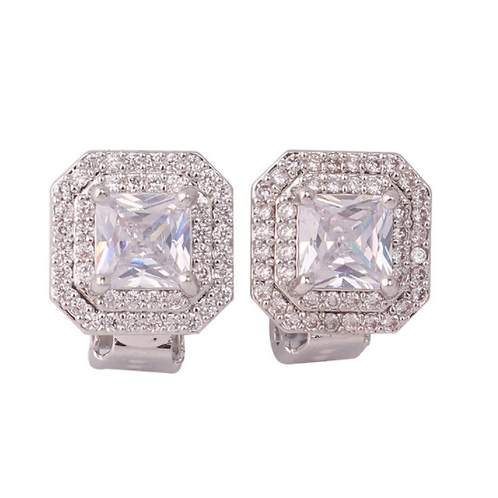 Double Pave Framed Square Crystal Clip Earrings