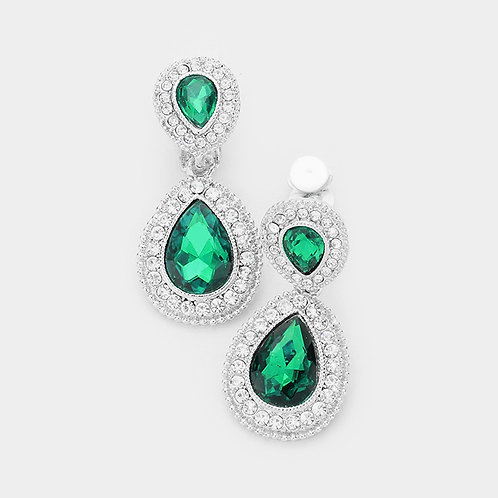 Dainty Pear Drop Clip Earrings, Emerald Green