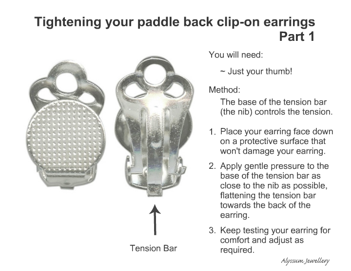 How to tighten paddle back clip on earrings infographic, no tools required