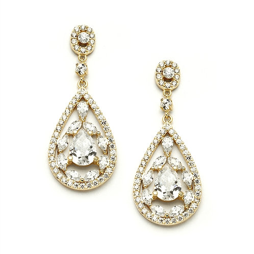 Gold crystal mosaic bridal earrings for pierced ears