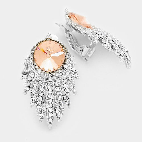 Art Deco Crystal Spray Clip Earrings with Peach Stone