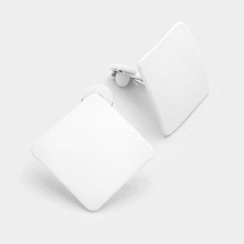 Retro clip-on earrings, white square