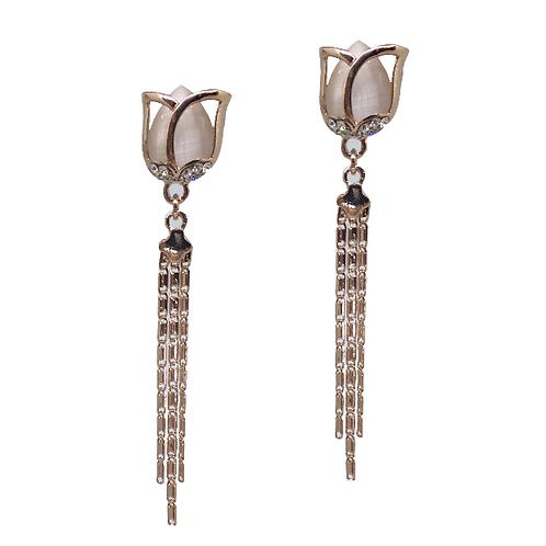 Rose Gold Tulip Drop Clip-On Earrings