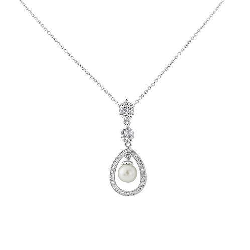 Pave Framed Pearl Bridal Necklace