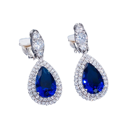 Double Pave Framed CZ Pear Drops, Blue