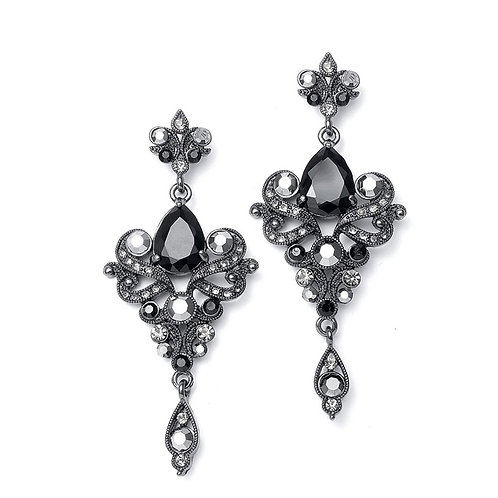 Art nouveau style chandelier earrings with black crystals