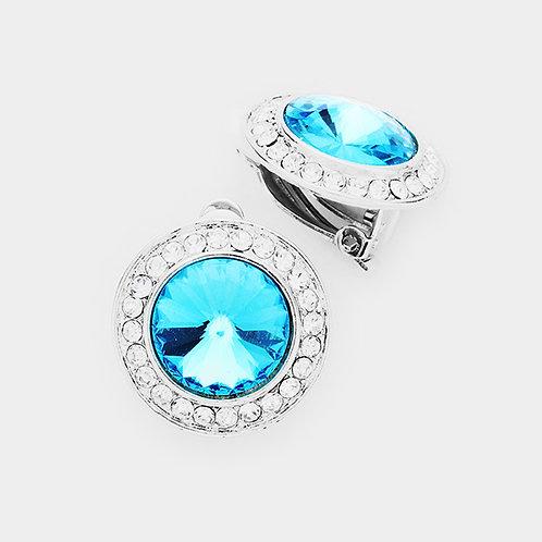 Pave Framed Aqua Blue Button Clip On Earrings