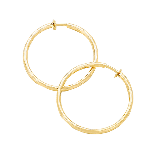 3cm Gold Tone Soft Texture Clip-On Hoops