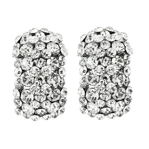 Crystal demi hoop clip-on earrings