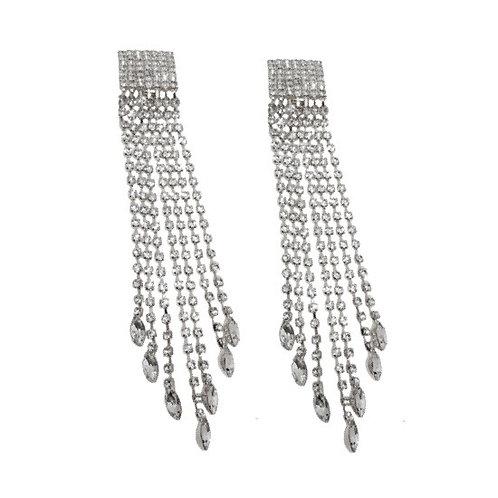 Raindrop Rhinestone Clip-On Fringe Earrings, Silver