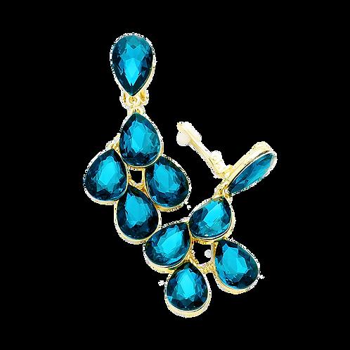Multi Pear Drop Clip Earrings, Teal Blue