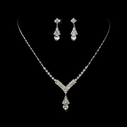 Crystal V-Drop Necklace Set
