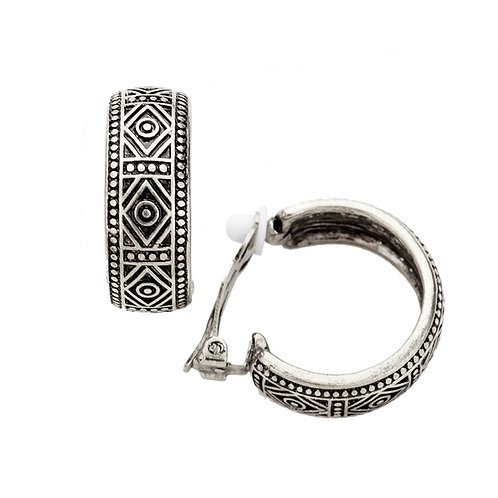 Chunky Dark Silver Patterned Clip On Hoops