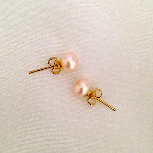 6mm pink pearl studs on gold plated posts