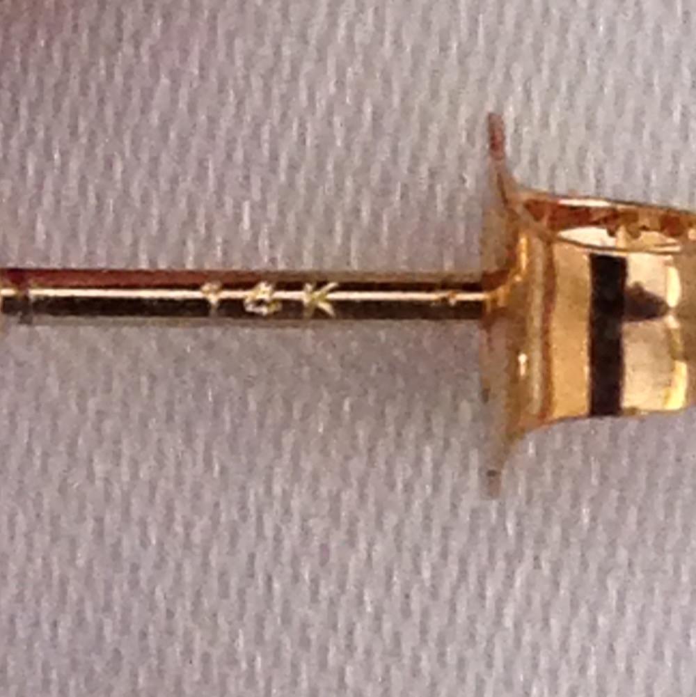 14 Karat Gold Stamp on Earring Post