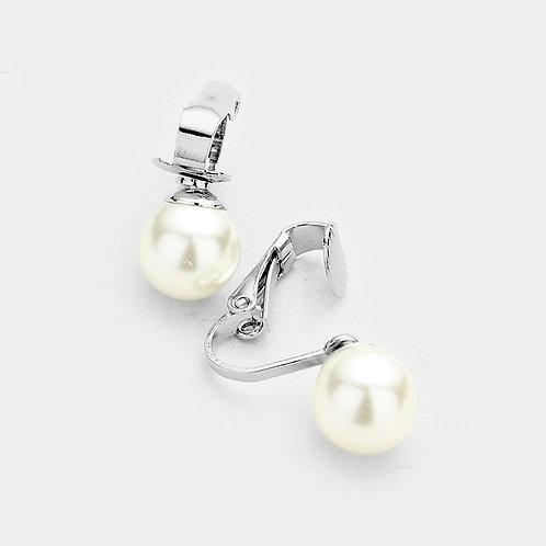 10mm Ivory Faux Pearl Clip Earrings