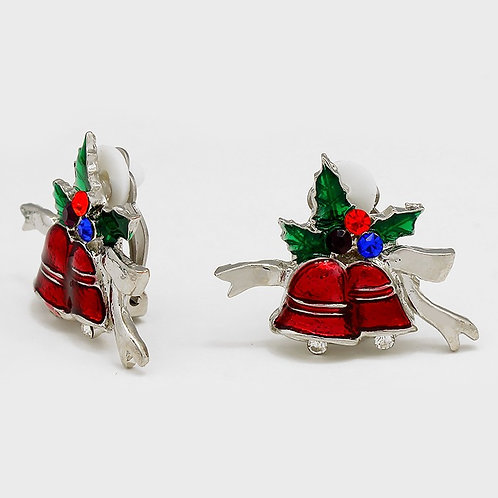 Clip-on Christmas earrings for non-pierced ears, red silver