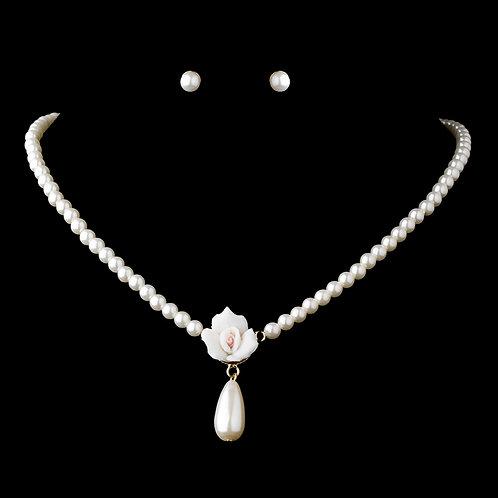 Porcelain Rose Ivory Pearl Necklace Set