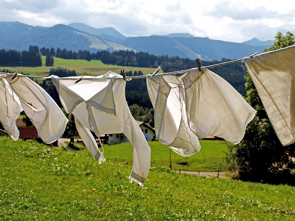 Old fashioned clothes on a washing line