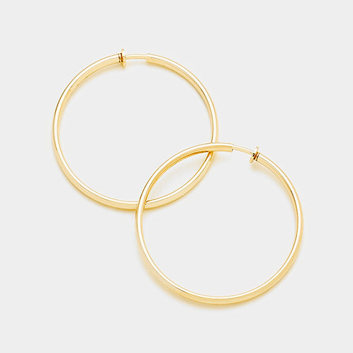 Plain gold tone spring clip on hoops for non pierced ears