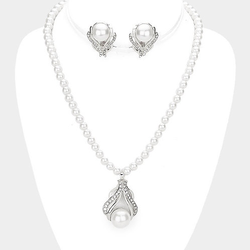 Pearl Strand with Pendant Enhancer Clip Earring Necklace Set, Silver
