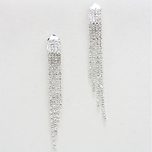 Rhinestone Fringe Clip On Earrings, Silver
