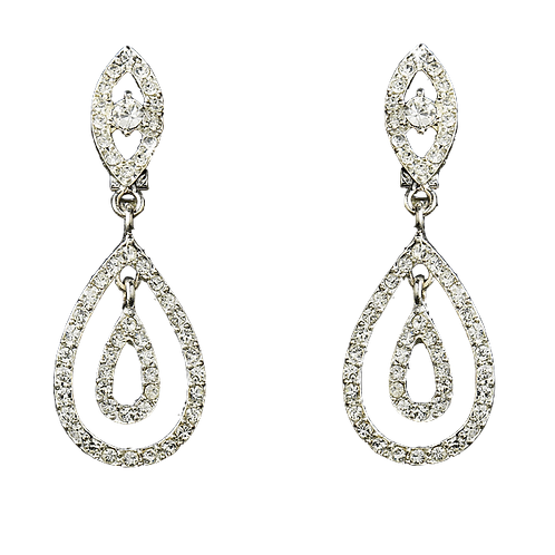 Crystal Double Tear Drop Clip Earrings