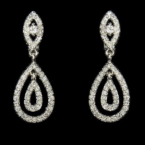 Crystal Double Tear Drop Clip Earrings