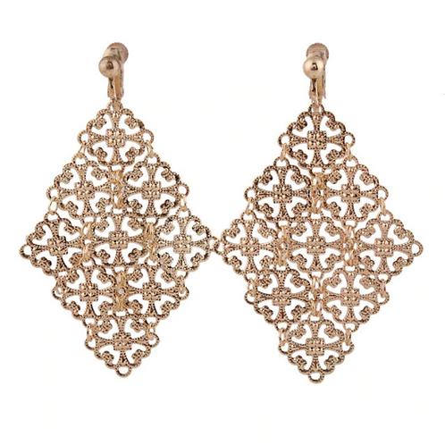 Gold Foil Filigree Ethnic Clip-On Earrings