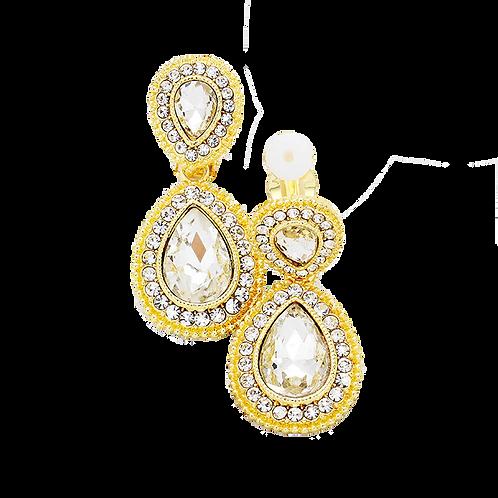 Dainty Pear Drop Clip Earrings, Gold