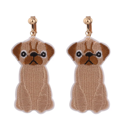 Pug Dog Fabric Patch Clip Earrings