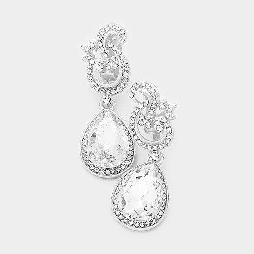 Fancy Silver Tone Crystal Drop Clip-On Earrings