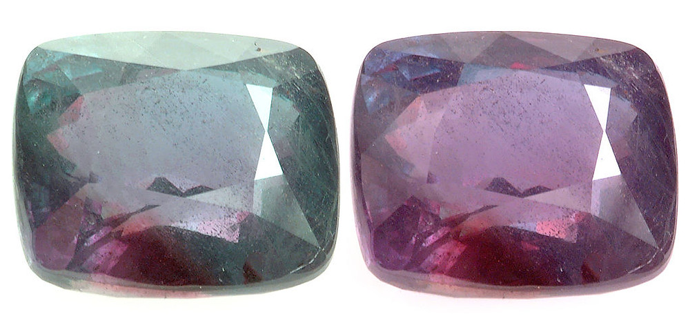 Alexandrite gemstone showing Pleochroic Effect