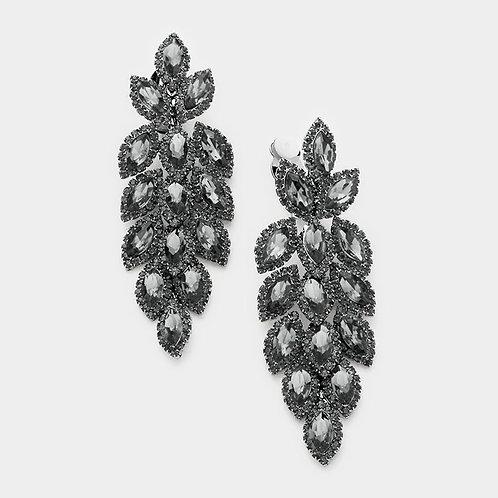 Rhinestone chandelier clip-on earrings like falling autumn leaves in black
