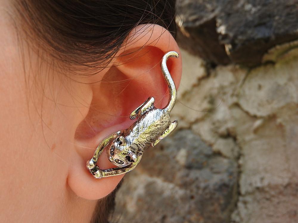Unusual Cat Design Ear Crawler Earrings