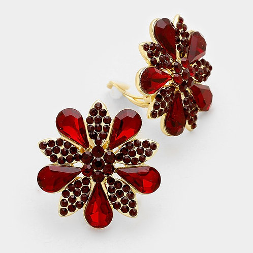 Garnet Daisy Poinsettia Flower Clip On Earrings