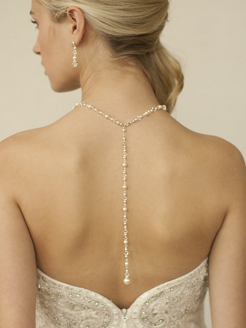 Pearl and crystal lariat style back necklace