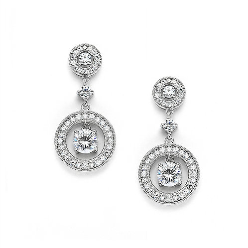 Stunning pave crystal double circle drop earrings
