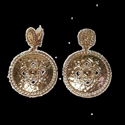 Gold Fleur Disc Clip Earring
