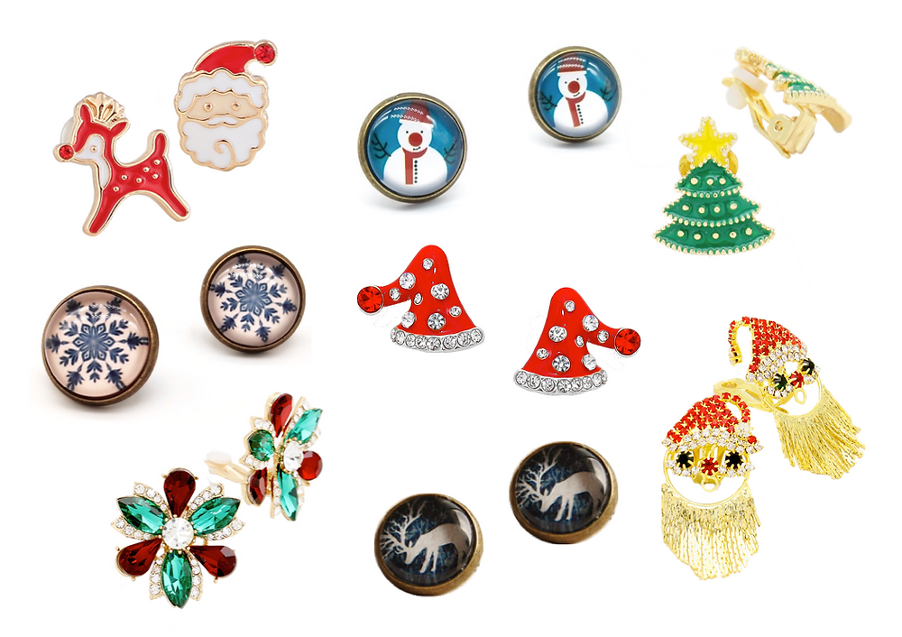Christmas Clip On Earrings for Non-pierced ears