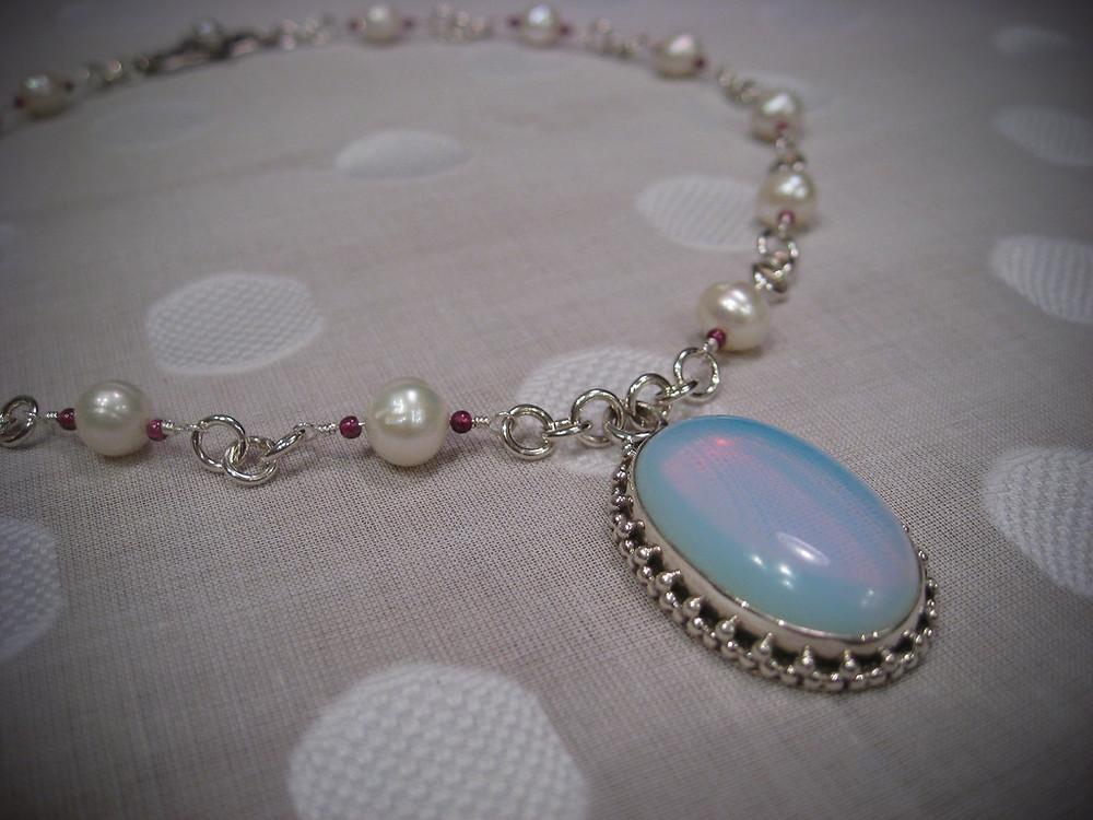 Opalite Pendant on Pearl Chain