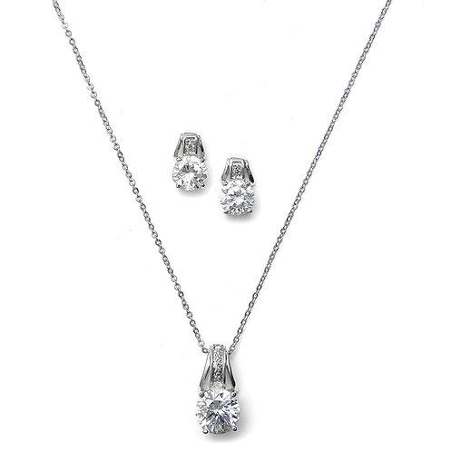 Deco Zirconia Bridesmaid Pendant Necklace Set